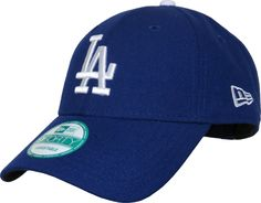 New Era 9Forty Los Angeles Dodgers The League Adjustable Baseball Cap. Blue with the LA front logo, the New Era side logo, the Dodgers rear strap logo, and the