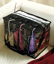 Keep yarn organized in a Yarn Tote [less than 6 dollars].