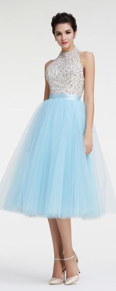 Light blue Halter sparkly prom dresses tea length ball gown backless prom dresses sequins crystals homecoming dresses
