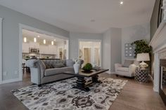 The great room on the main level is a beautiful spot to relax with guests after dinner. Gabriel, New Shows, Model Homes, Great Rooms, Relax, Living Room, Dinner, Bedroom, Furniture