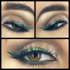 """Eye makeup, lashes, teal winged eyeliner, hazel eyes (maybe a darker ivy green would be a little more subtle or simply not extend the teal """"wing"""" so far or so thickly for a more wearable version of this)"""