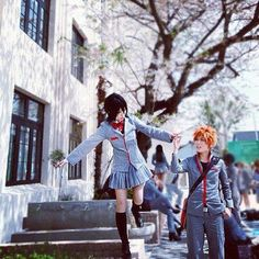 Bleach Cosplay- They look totally awesome, rukia ichigo in school uniform
