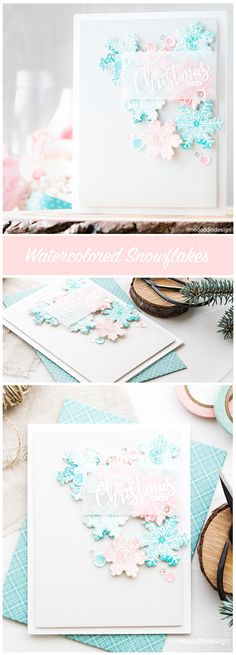 Soft subtle snowflakes make a beautiful feminine Christmas greeting card. Check out the latest STAMPtember® feature by Avery Elle!