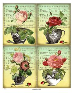 Digital Collage Sheet #19  Antique Tea Cups and Roses    This listing is for an enchanting collection of gorgeous roses in old tea cups. The sheet