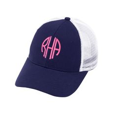 Navy Monogrammed Trucker Hats - The Palm Gifts