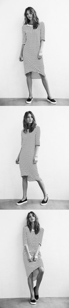 Scoop Hem Dress in black/white stripe