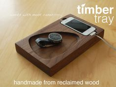 One side was designed exclusively as a docking station for your smart phone, and the other side is a gorgeous slightly sloped bowl that can accommodate anything you'll want to have close at hand each day -- your keys, wallet, necklaces, watch -- the possibilities are endless.