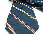 Black Friday SALE: Christian Dior mens tie / Designer necktie / indigo gold magenta stripe / Dior / pure silk / blue tie / Fathers Day / nee