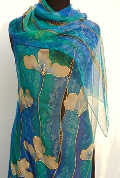 Blue Emerald silk scarf chiffon Hand painted silk shawl lapis