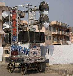 a very stylish looking big ass sound system on a cart probably in india