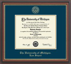 University of Michigan - Law School Diploma Frame - Embossed Edition