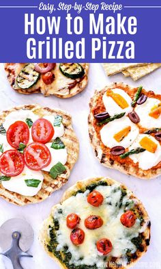 Learn how to make Pizza on the Grill! Making homemade Grilled Pizza is fun and easy with this step-by-step recipe. Grilled Pizza Recipes, Veggie Recipes Healthy, Best Vegetarian Recipes, Tart Recipes, Grilling Recipes, Beef Recipes, Grilling Tips, Tailgating Recipes, Veggie Meals