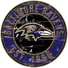 This large piece of distrssed wall art with the team name and established date sure to show everyone that you are a true Baltimore Ravens fan. This wood sign hangs easily on any walll with a metal hanger. It is sure to be the focal oint of your room Nfl Fans, Football Fans, Patriots Football, College Football, Hanging Signs, Wall Signs, Messi Gif, Nfl Baltimore Ravens, Baltimore Ravens Wallpapers