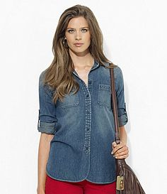 Lauren Ralph Lauren Cotton Chambray Shirt #Dillards