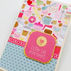 Handmade Valentine 's Day card using Doodlebug 's cream & sugar collection. All the sweet colours!