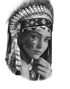 Native American Tattoos, Native Tattoos, Warrior Tattoos, Family Tattoos For Men, Tattoos For Guys, Black And White Portraits, Black And Grey Tattoos, Flower Cover Up Tattoos, Indian Girl Tattoos