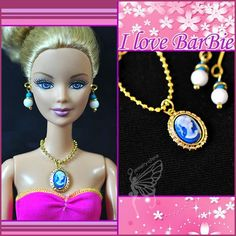dolls jewelry set doll necklace and earring for dolls by sinogem