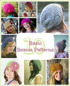 10 Free Basic Beanie Crochet Patterns via My Favourite Things! Yay! Time to get to work on these!!