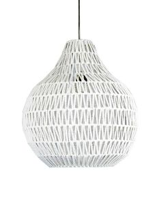 pendant light in black or white e27 woven string shade 30cm or 45cm