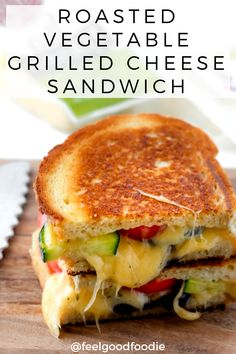 by Roth Cheese This Roasted Vegetable Grilled Cheese Sandwich is the ultimate sandwich made with two kinds of cheese, oven-roasted veggies & golden buttery sourdough bread Grill Sandwich, Veggie Sandwich, Vegetarian Sandwiches, Steak Sandwiches, Lunch Recipes, Vegetarian Recipes, Cooking Recipes, Healthy Recipes, Vegetarian Grilling