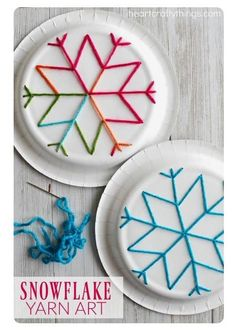 winter kids crafts This paper plate snowflake yarn art is a perfect activity for the winter months and is great for beginning sewing and fine motor skills. Fun winter kids craft, sewing craft for kids, paper plate crafts and winter activity for kids. Winter Activities For Kids, Winter Kids, Christmas Crafts For Kids, Holiday Crafts, Kids Winter Crafts, Winter Christmas, Time Activities, Paperplate Christmas Crafts, Snow Crafts