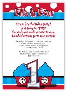 dr seuss thing 1 thing 2 birthday invitations, seuss birthday invitations, twin birthday invitations