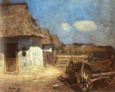Hollosy, Simon (1857-1918) - 1912 Peasant Yard with Cart (Hungarian National Gallery, Budapest)