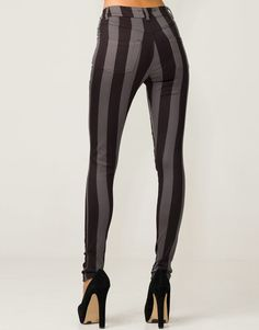 JORDAN JEAN BLACK GREY STRIPE from Motel Rock -  Black and charcoal striped skinny fit, high waisted stretch jeans from Motel Rocks. Go down one size from your original size as the elasticity makes up for a size $95