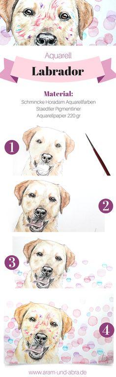Hund in Aquarell | Portrait | Zeichnen | DIY | Tipps | Anleitung | kreativ | Kunst | Tierportrait | Hunde | bunt | Labrador Retriever | Aram und Abra