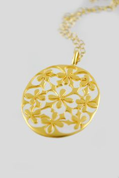 Cathy Waterman 22k Gold Oval Lace Pendant
