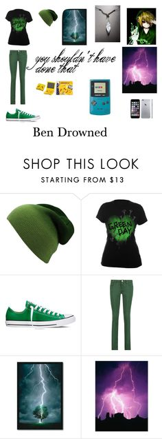 """""""Ben Drowned (female version)"""" by breanna-cccxi ❤ liked on Polyvore featuring Converse, M Missoni, Nintendo and Amanti Art"""