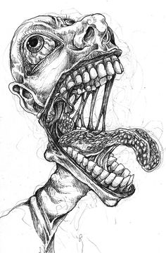 Scary Drawings, Trippy Drawings, Psychedelic Drawings, Dark Art Drawings, Art Drawings Sketches, Creepy Sketches, Zombie Drawings, Dark Art Illustrations, Creepy Art