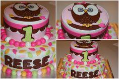 owl 1st b'day cake