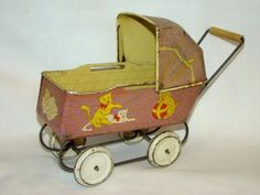 Vintage Small Lithographed Tin BABY DOLL Pram Buggy CARRIAGE Toy, Cats & Dogs | eBay