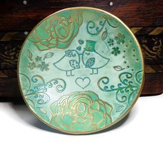 Lovebirds Wedding Ring Dish Polymer Clay Ring Dish by artist Sherri Kellberg ..great Bridal gift