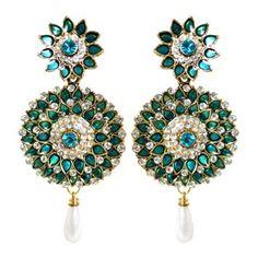 Zohra Green Flower Ethnic Minakari Earrings || Available on ► www.vmfashion.com
