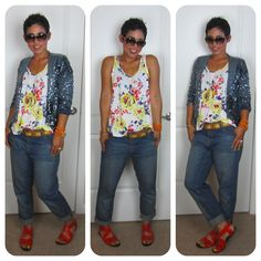 Today's Look: Kicked Up Casual  Sequin, Floral, Boyfriend @ www.mimigstyle.com