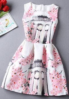 Pink Floral Print Zipper Sleeveless Mini Dress