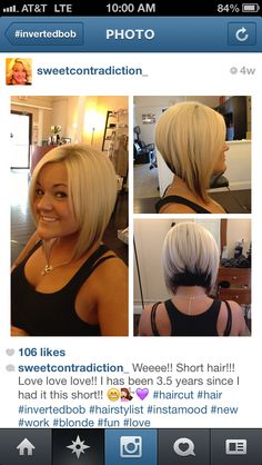 Inverted bob,  I have this cut now but this color contrast give it so much more character!