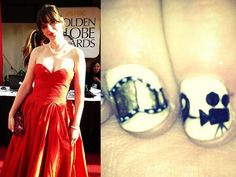 Manicura de Zooey Deschanel en los Globos de Oro 2013