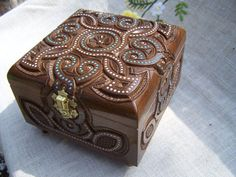 Jewelry box mirror Wooden box Large ring box Carved by HappyFlying