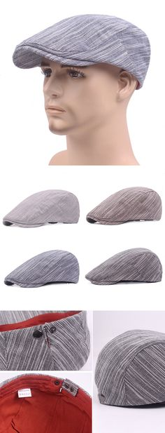 Men Simple Stripes Cotton Beret Cap Travel Leisure Sunscreen Forward Hat is  hot sale on Newchic. a048f235afdb