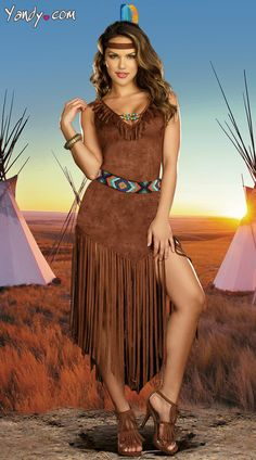 Hot On The Trail Costume, Long Indian Costume, Long Native American Halloween Costume