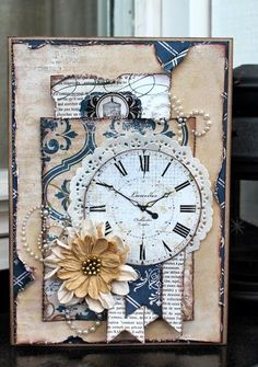 """""""It's about time"""" from The Avenues Collection from Bo Bunny Scrapbook Cute Cards, Diy Cards, Shabby Chic Cards, Beautiful Handmade Cards, Vintage Cards, Vintage Handmade Cards, Vintage Labels, Vintage Ephemera, Vintage Stuff"""
