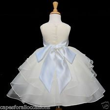NEW IVORY ORGANZA BRIDESMAID PAGEANT WEDDING FLOWER GIRL DRESS SM MED 2 4 6 8 10