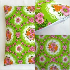Green vintage retro fabric cushion cover