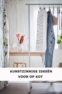 Bijna terug naar school ... hoog tijd om je kot wat op te frissen! Ga voor multifunctionele meubels zoals een kledingrek waar je naast kleding ook heel wat andere dingen kunt ophangen in hangende opbergers. RIGGA Kledingrek, 12,99,-/st. #IKEABE #IKEAidee  Time to give your dorm room a refresh! Go for multifunctional furniture such as a clothes rack on which your can store clothes and whatever else. RIGGA Clothes rack, 12,99/pce. #IKEABE #IKEAidea