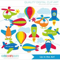 Aviation / Airplanes Clip Art / Digital Clipart - Instant Download