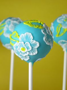 Brush Embroidery Cake Pops by The Cake Poppery Fancy Cakes, Cute Cakes, Pretty Cakes, Mini Cakes, Yummy Cakes, Cupcake Cakes, Take The Cake, Love Cake, Gorgeous Cakes