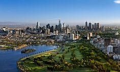 Melbourne ~ Victoria, Australia, with Albert Park Lake in foreground. Melbourne Skyline, Visit Melbourne, Melbourne Australia, Real Estate Melbourne, Melbourne Art, Queensland Australia, Tasmania, Gold Coast, Surfers Paradise